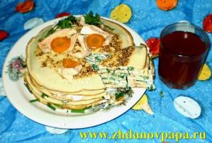 слоеный блинчатый пирог